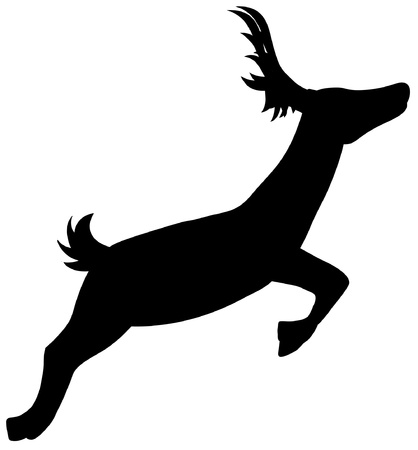Silhouette Running Deer Vector