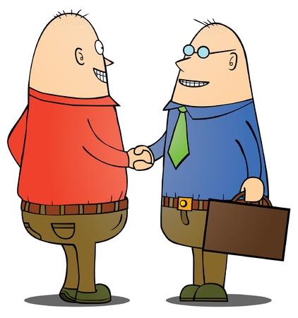 cooperativismo: Hombres de negocios que sacuden las manos Vectores