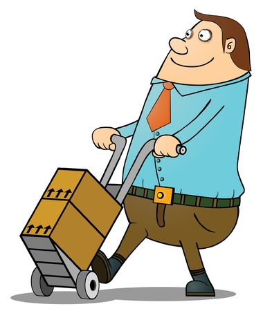package sending: Fat guy pushing cart
