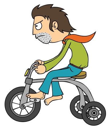 diminuto: Hombre con bicicleta peque�a
