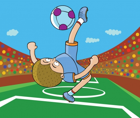 Football Player - Kick on air Vector