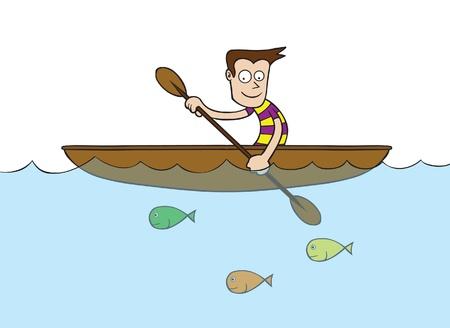 rowboat: Hombre en bote de remos Vectores