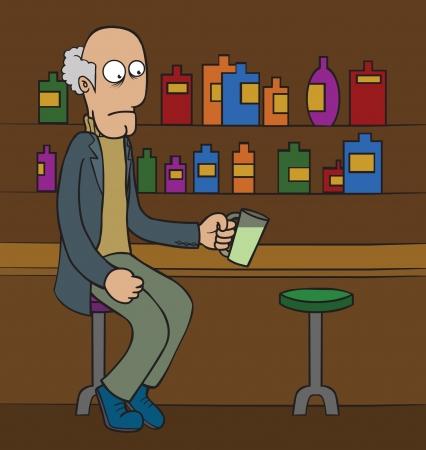 oldman: Oldman at Bar Illustration