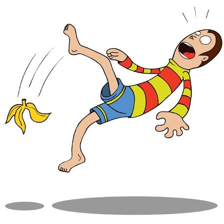 ilustra��o do homem escorregou