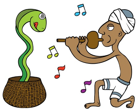 turban: illustration of a snake tamer