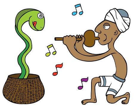 turban: illustration of a snake tamer