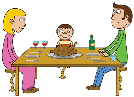 thanks giving: illustration of family celebrating thanks giving day