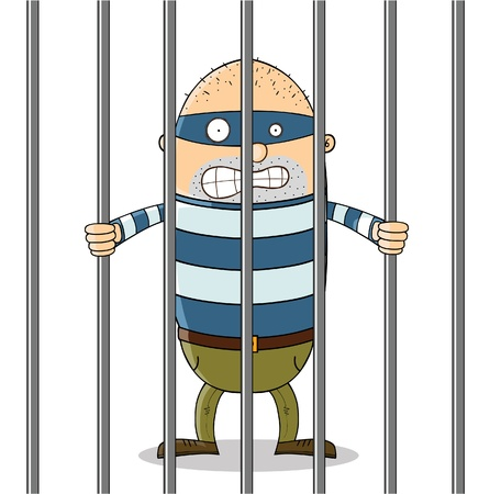jail: bad guy in jail Illustration