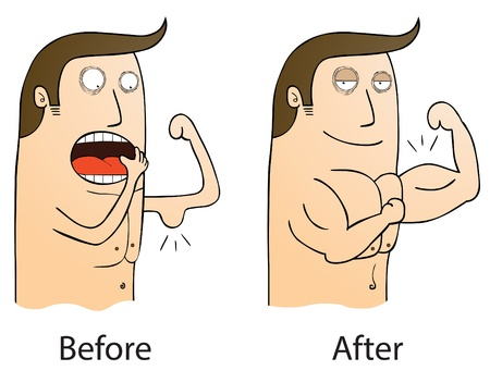 sexy muscular man: before and after
