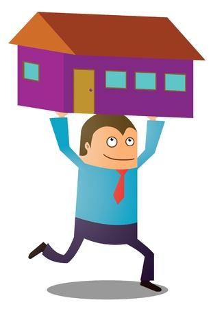 new house: buying new house Illustration