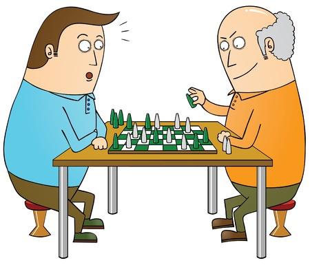 vieil homme assis: ma�tre d'�checs