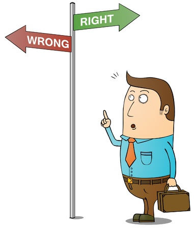 right way: right and wrong way Illustration