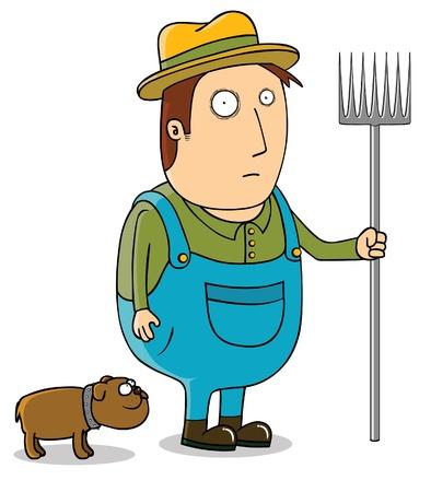 joven agricultor: Agricultor joven y su perro