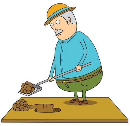 digging old fat man Stock Vector - 16883544