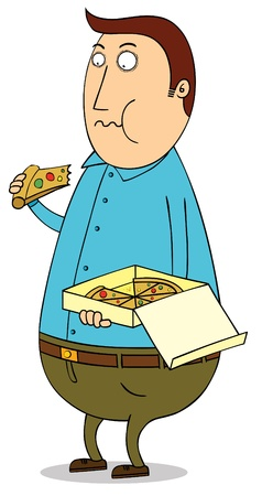 Eating pizza Vector