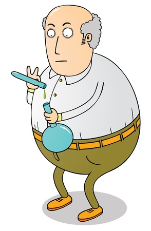 old fat scientist Stock Vector - 16883517