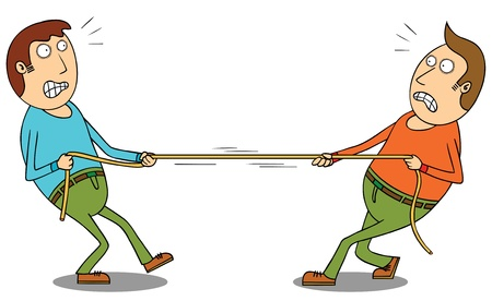 struggling: tug of war Illustration