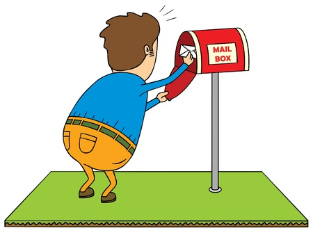 mail delivery: checking mailbox Illustration