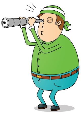 spying: fat man using telescope