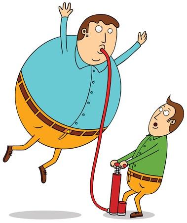 floating: pumping balloon man