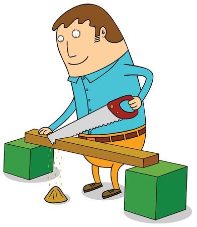 sawing: sawing wood