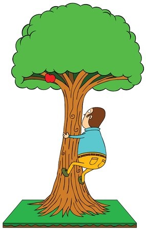climbing apple tree Vector
