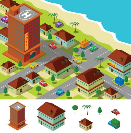 isometric hotel near beach Illustration