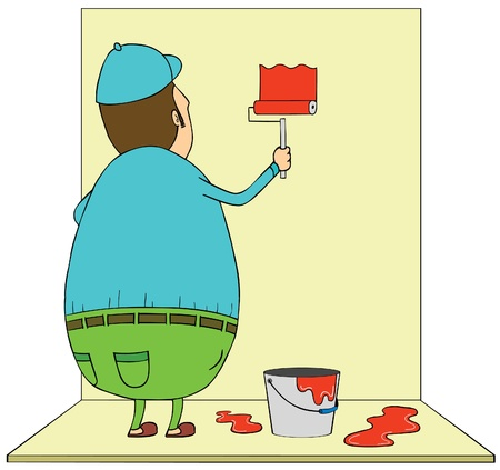 fat man painting wall Stock Vector - 17071521