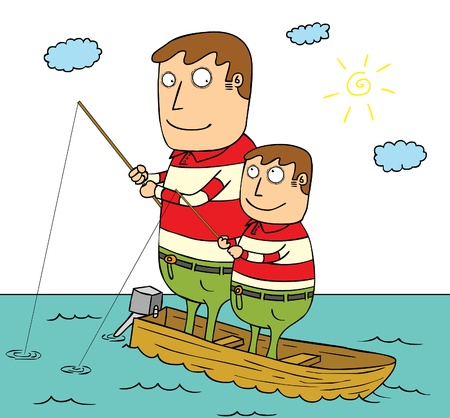father and son fishing Illustration