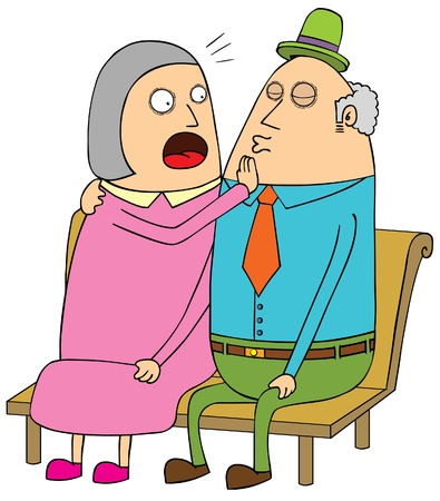 vieil homme assis: vieux couple dating Illustration