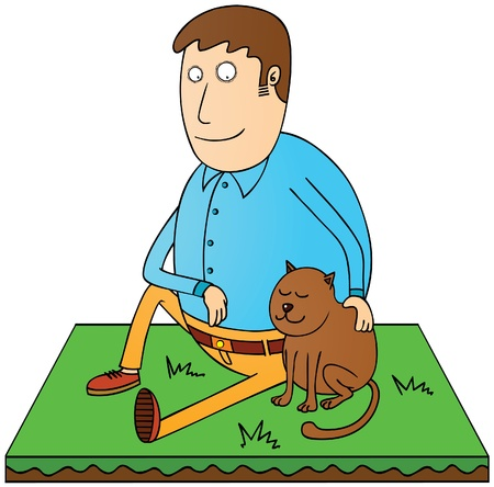 man and his pet Stock Vector - 17381428