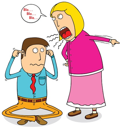 marido y mujer: esposa enojada Vectores