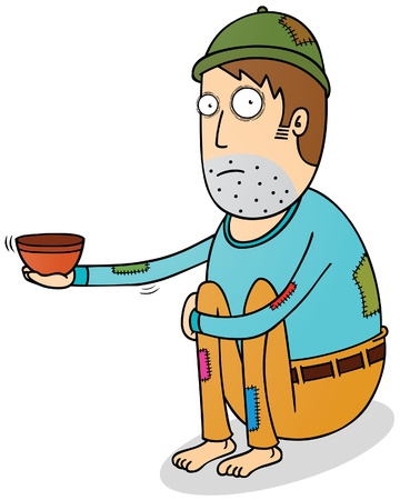 hombre pobre: mendigo Vectores