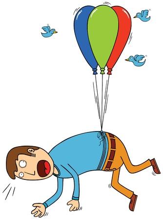 bird attacking man with balloon
