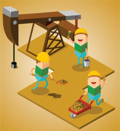 trabajador petrolero: trabajando en el campo de petróleo Vectores