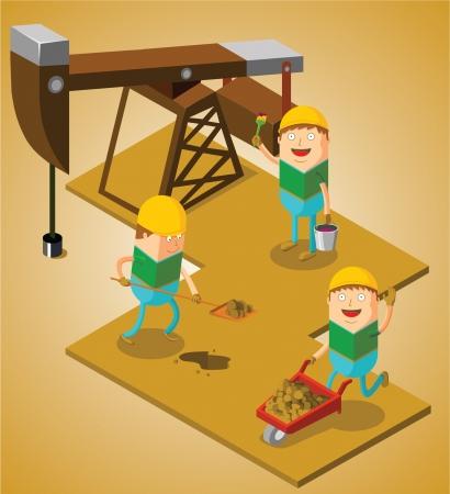 travaillant au champ de pétrole Vecteurs