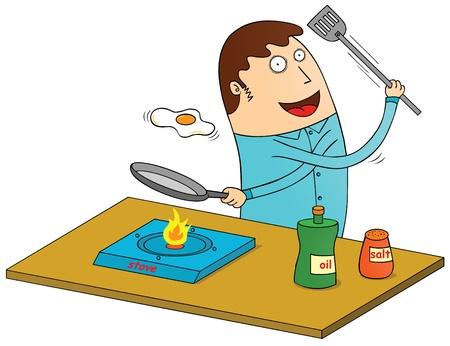 stove: making omelet