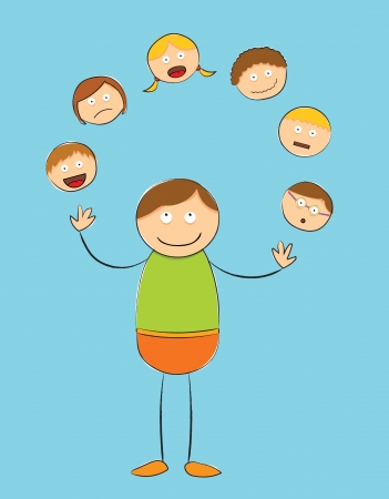 rough stick figure - juggling people Stock Vector - 18723208