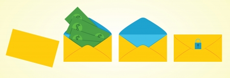 envelope with money inside Vector