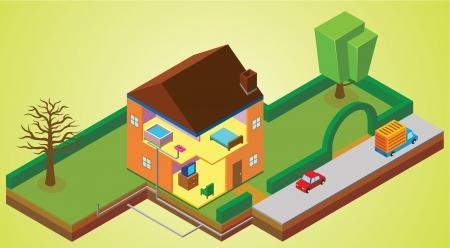 car garden: house environment Illustration