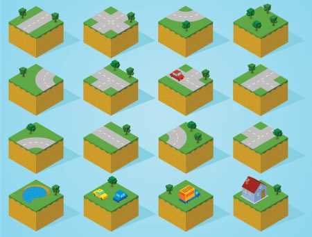 pre assembly isometric map-road Vector