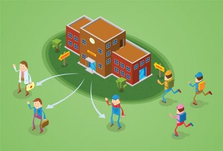 estudiantes de colegio: concepto de educaci? Vectores