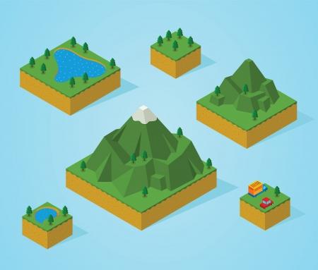 montagna: pre assemblaggio isometrica mappa-montagna Vettoriali