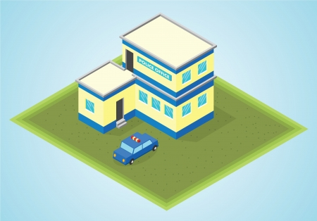 serine: isometric police office Illustration