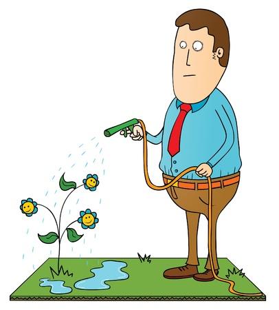 caños de agua: regar las flores felices