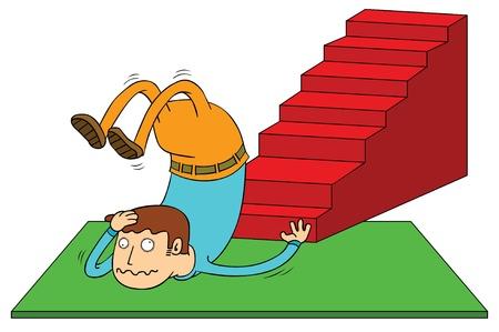 descuidado: acidente escada Ilustração