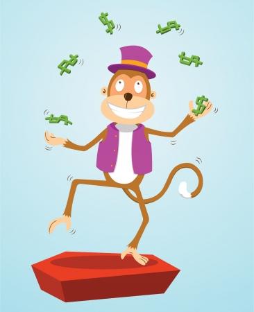 monkey clip: monkey juggling money