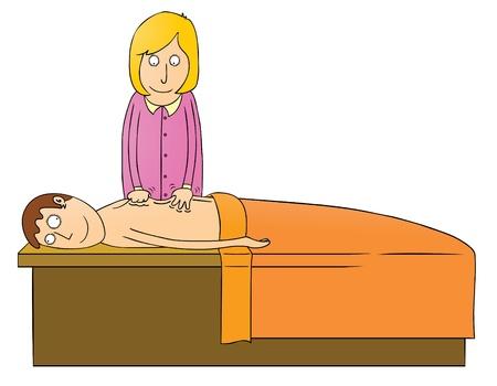 prostitution: massaging girl Illustration
