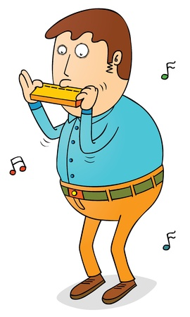 fluted: playing harmonica