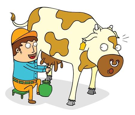 squeezing: squeezing cow milk Illustration